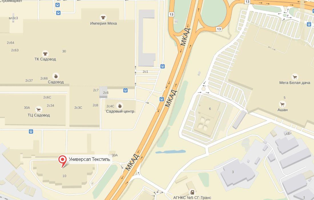 Схема расположения офиса и склада Универсал Текстиль